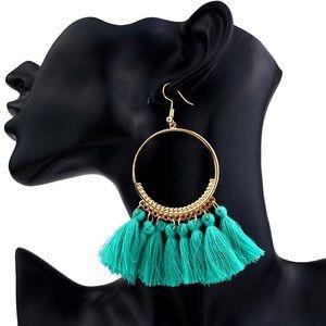 Jewelry - Boho Green Dangle Tassel Earrings